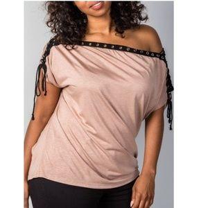 Ladies fashion plus size all lace-up neckline 7004